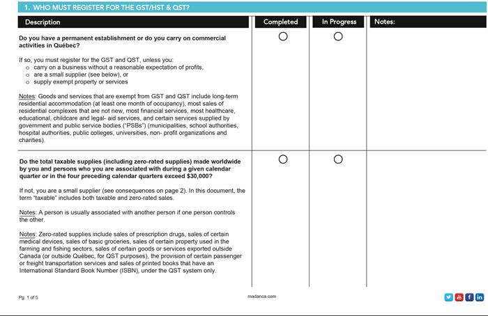 Registering for GST & QST Checklist