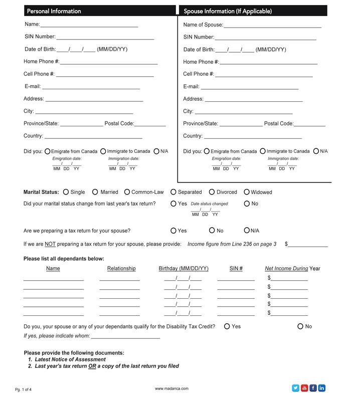 T1 Personal Tax Return Checklist