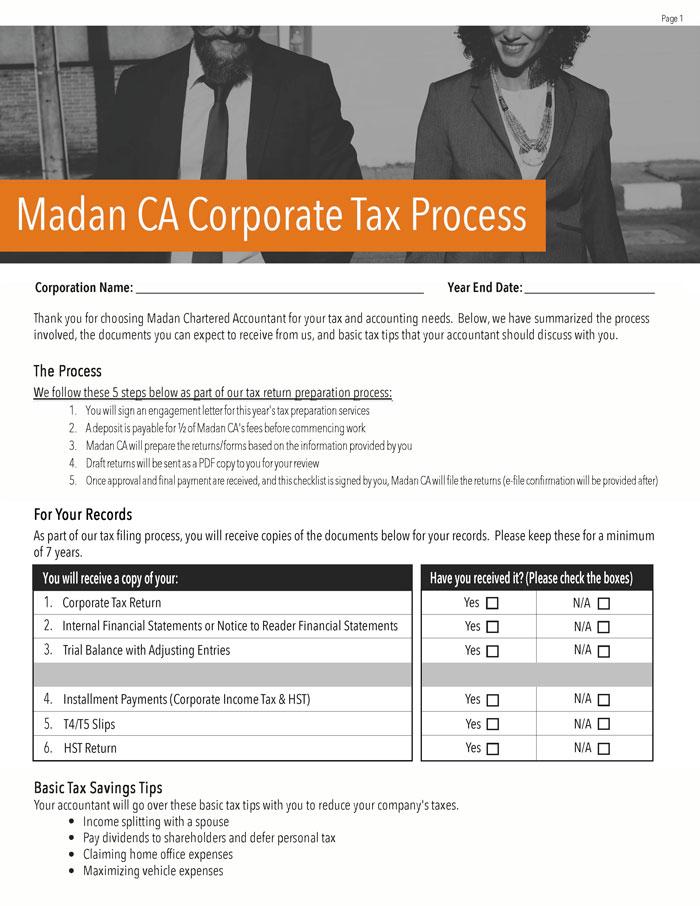 Corporate Tax Process Checklist