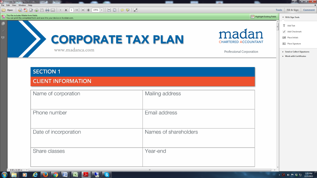corporate tax planning checklist madan ca